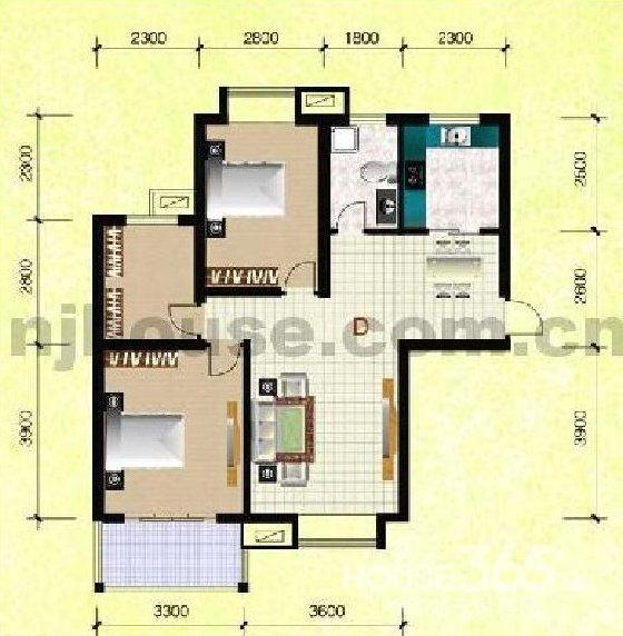 农村九十平方米长9米宽10米二室一厅一厨一卫设计图图片