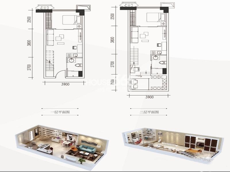 南飞鸿广场A1户型一室一厅一卫 47.00㎡