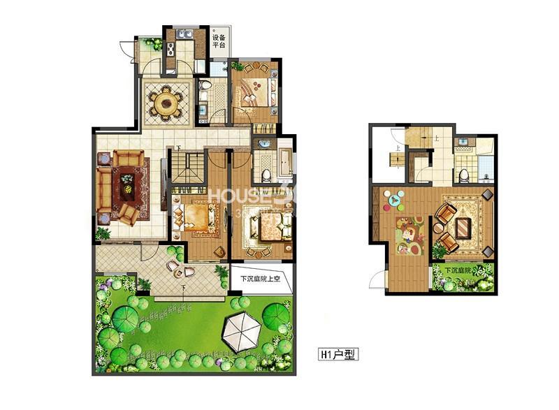 中电颐和府邸二期洋房标准层 H1户型  5+1房两厅三卫