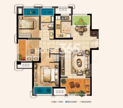无锡圆融广场B户型89平2+1房户型图
