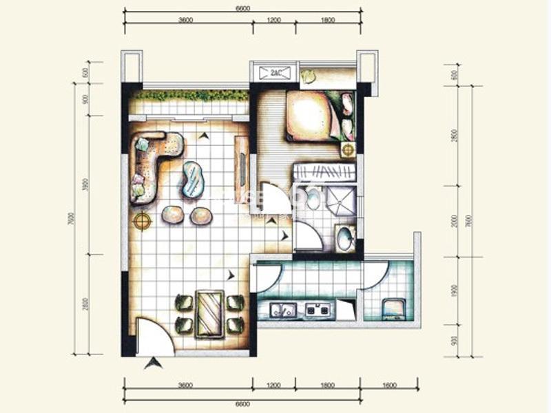 北城阳光尚线北城阳光尚线一期标准层3号房户型2室2
