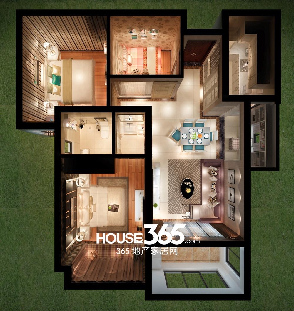 华邦繁华里89平米户型空间设计图