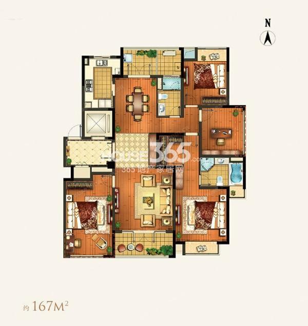 颐和湾花园约167平A-5户型4室2厅2卫