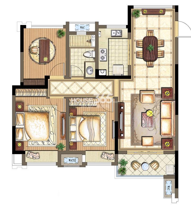 金科观天下B3户型2+1室两厅一卫91平米