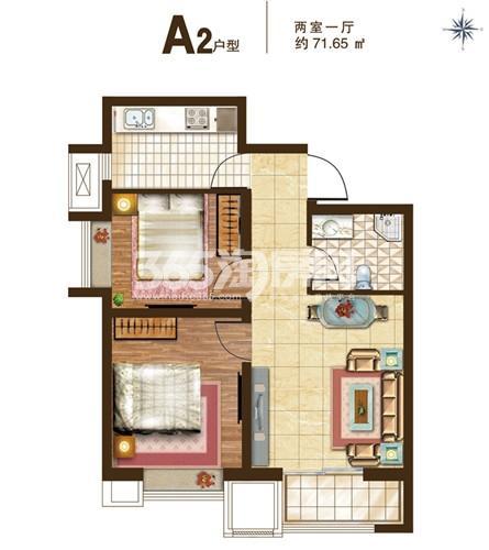 A2户型 2室1厅1卫 71.65㎡