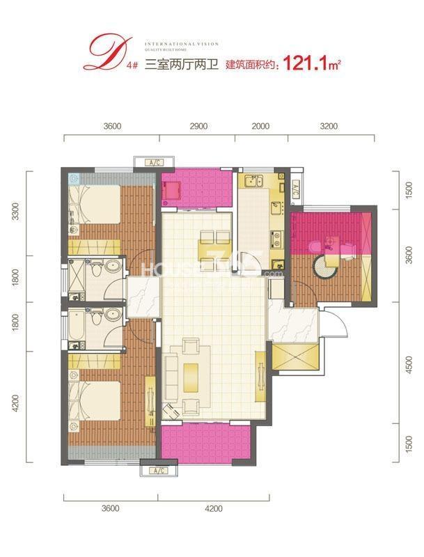 三迪枫丹一期4#D户型3室2厅2卫2卫面积121.1㎡