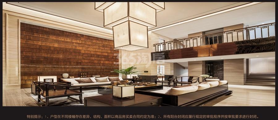 美丽湾项目顶层跃层装修效果图——客厅