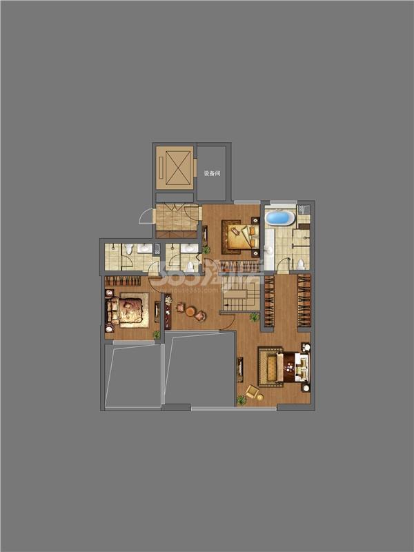 万科大明宫4室5厅5卫1厨240㎡户型上层