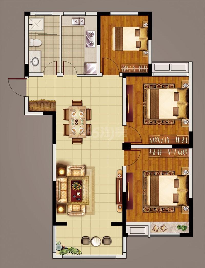 日月星城2#-3(113.92㎡) 户型:3室2厅1卫 建面:113.92平方米 参考价:5500