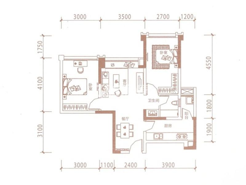 B3户型 2室2厅1卫 63.83平米