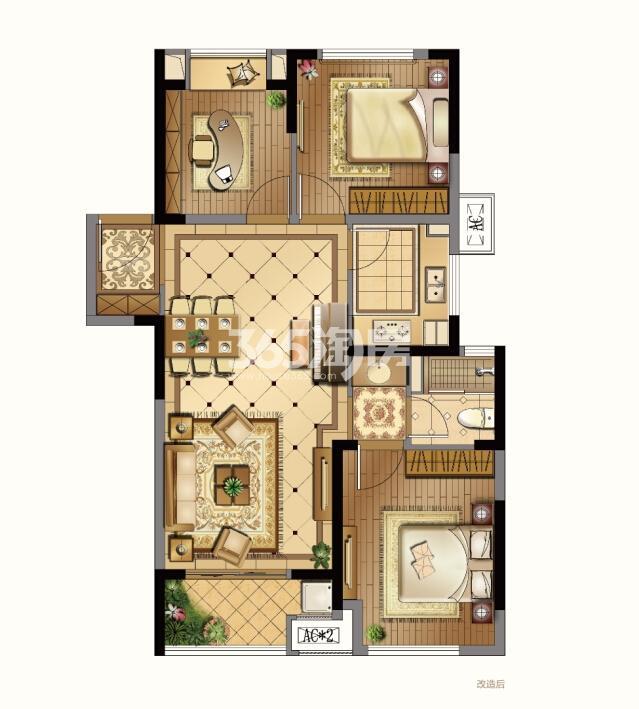 1#标准层东边02室(中间户改造后面积约89㎡3室2厅1卫)