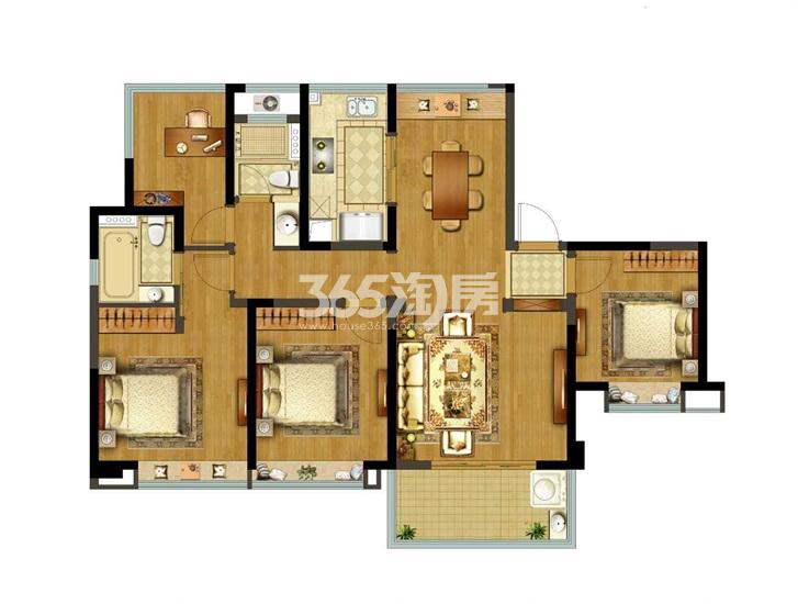 融创玉兰公馆项目129㎡四房两厅两卫户型图