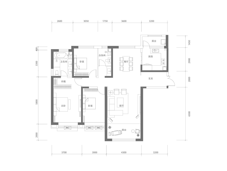 T3B-2户型 三室两厅一厨两卫 建筑面积约164㎡