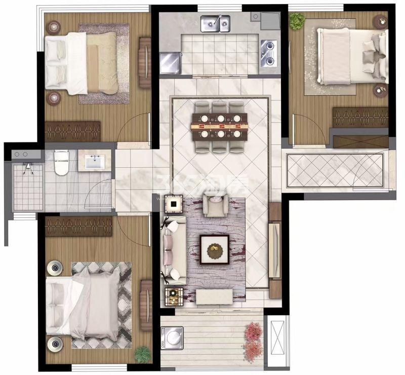 中航国际社区95㎡三室两厅一卫户型图