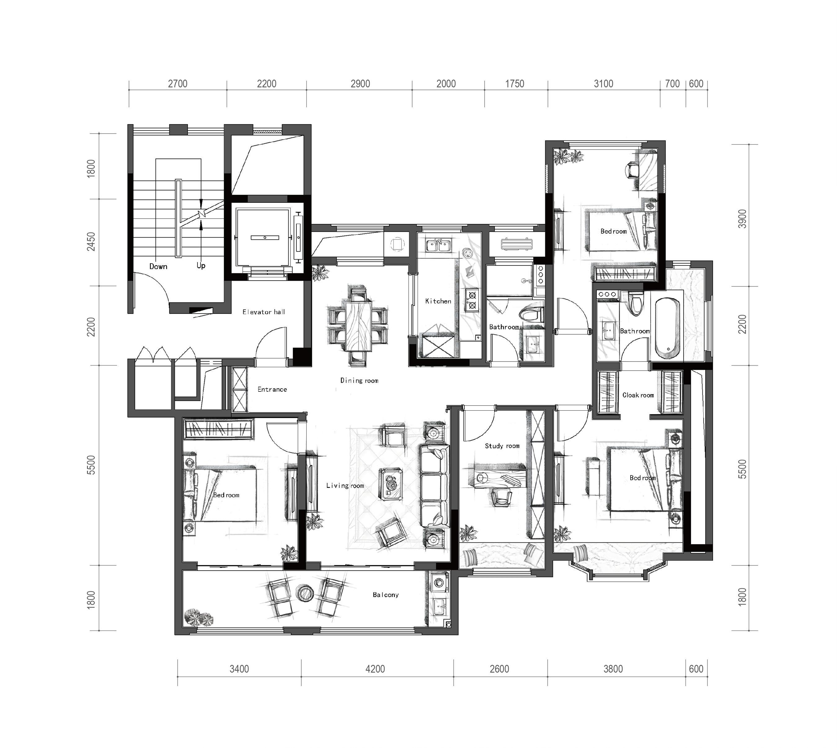 万科新都会1958项目1、3、5号楼【达利阳光】户型 139㎡