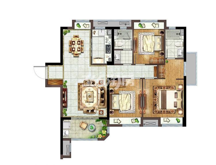融侨悦城C户型119㎡三房两厅两卫
