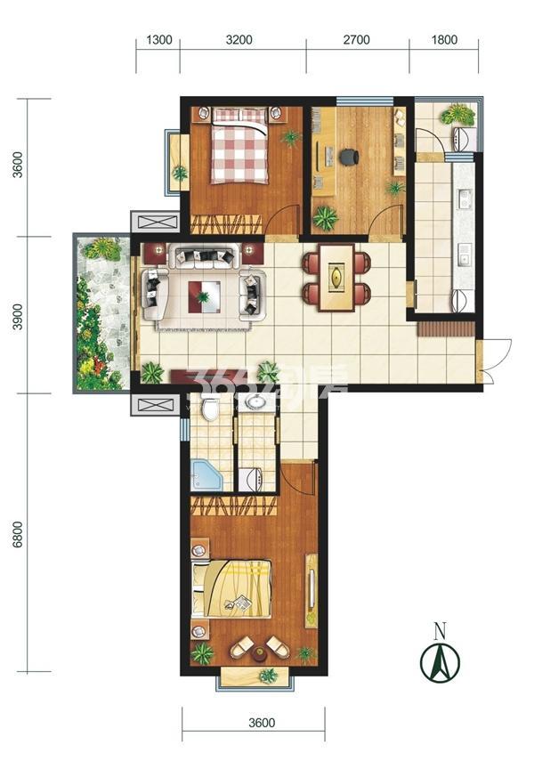 K户型 三室两厅一卫 建筑面积约118.65㎡