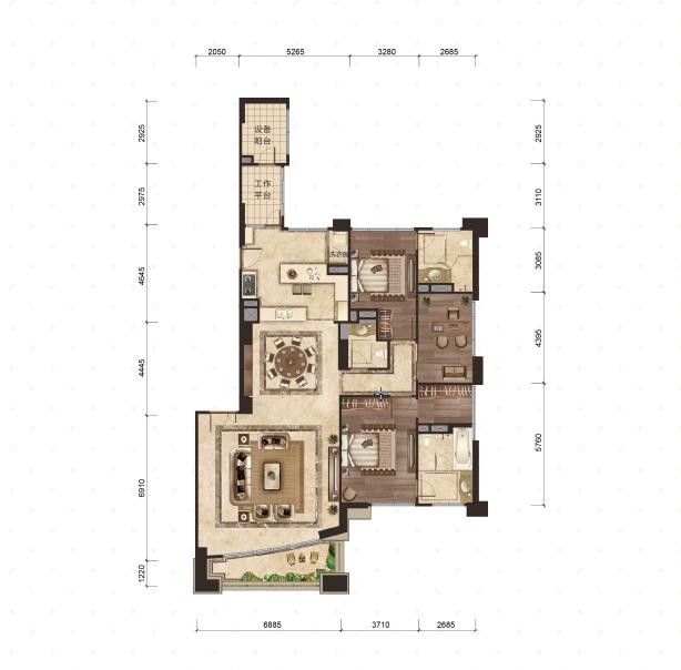 4号楼-2号室 3室2厅3卫 268平米