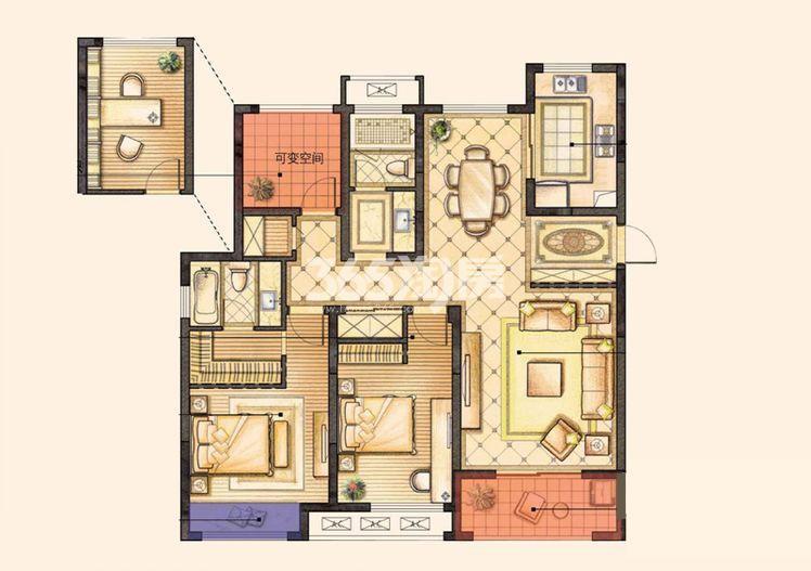 红豆香江豪庭二期110平户型图
