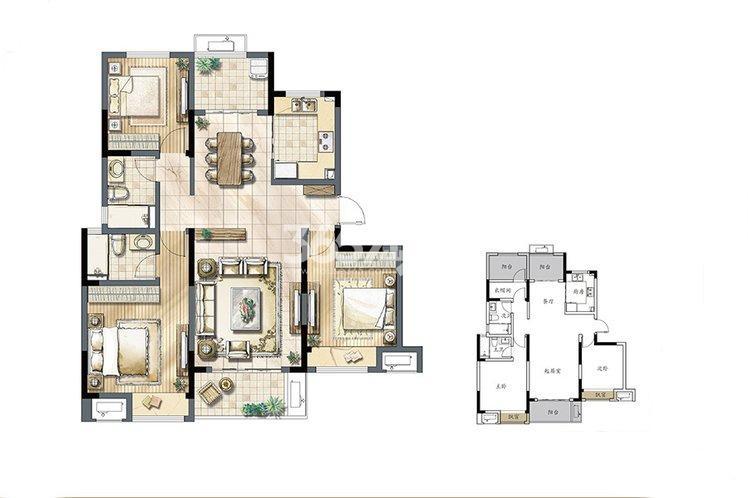建发独墅湾 高层G1户型120㎡