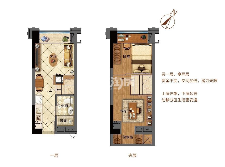 佛奥天佑城29平LOFT公寓B户型