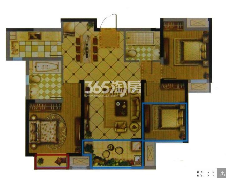 一期1#3#标准层B户型 3室2厅2卫1厨