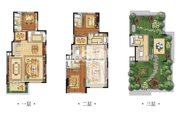 中国铁建西派国际别墅C3户型3室3厅5卫1厨210.00㎡