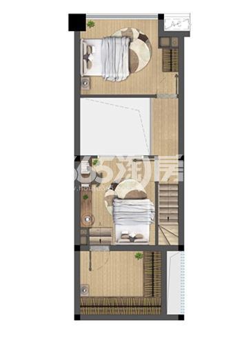 中骏六号街区A户型40㎡平面图二层