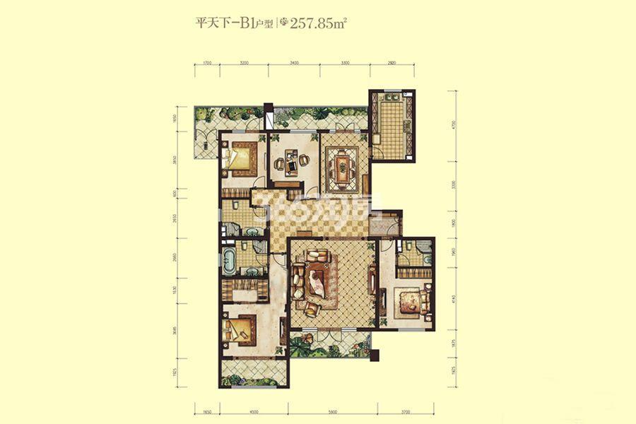 曲江公馆和园平天下-B1户型4室2厅3卫1厨257.87㎡