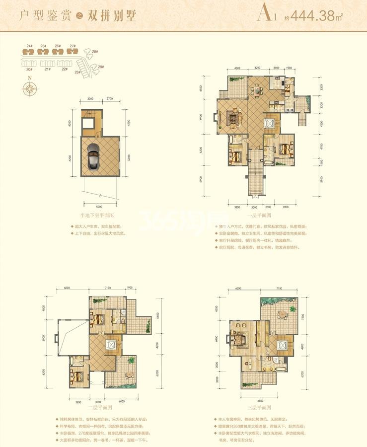 信德半岛别墅A1双拼别墅户型图