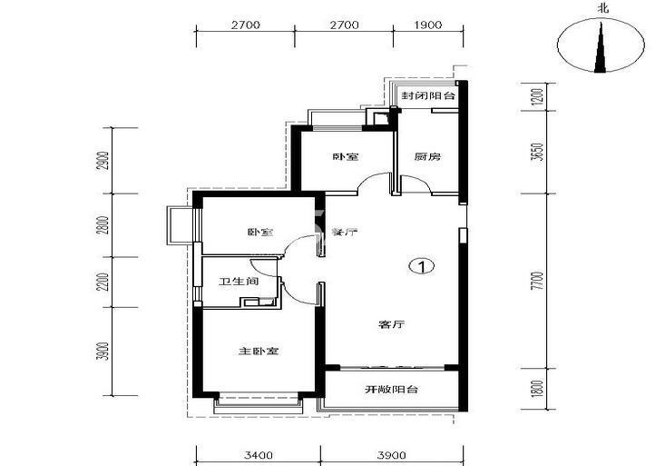 恒大都市广场3号楼1户型 3室2厅1卫1厨 106.73㎡