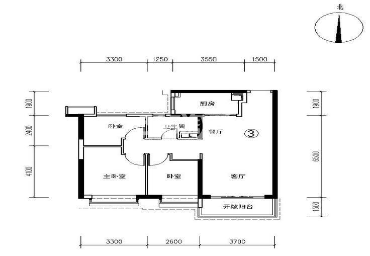 恒大都市广场3号楼3户型 3室2厅1卫1厨 99.53㎡