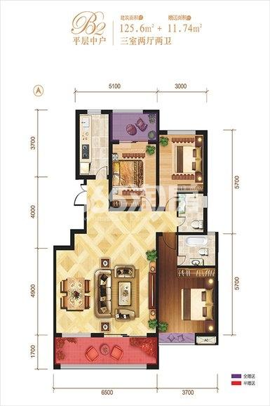 龙记玖玺26#平层中户3室2厅2卫1厨125.60㎡