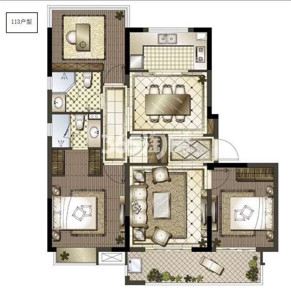 御澜府113㎡三室两厅两卫